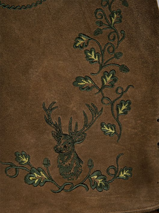 Wildbockhose Hirschkopf Dunkel Detail