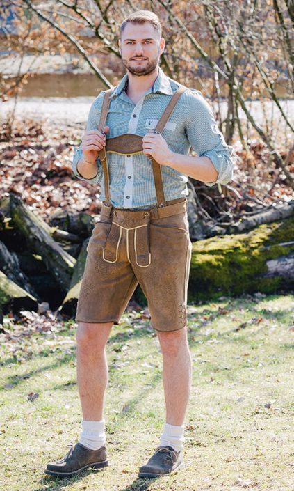 sämische Hirschlederhose, Handarbeit in Bayern